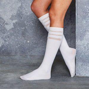 New Sporty Stripes White Knee Highs OSFA